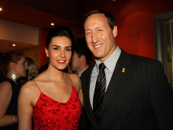 Nazanin Afshin-Jam and Peter MacKay at a function